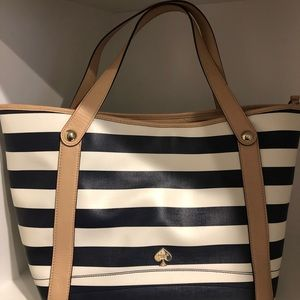Kate Spade blue and white striped tote.